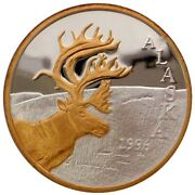 Alaska Mint Official 1996 State Medallion Gold And Silver Medallion Proof 1 Oz