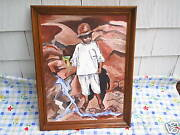 1964 Jamaican Boy Canvas Oil Painting Signed M. Lodendorf,margaret,jamaica.