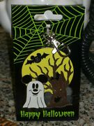 Rare Disney Happy Halloween Ghost Mickey Mouse Lanyard Pin Medal
