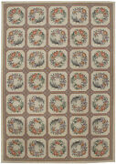 10x14 Floral Wreath Block Design Ivory Off-white Hooked Rug 19491
