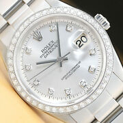 Mens Rolex Datejust Silver Diamond 18k White Gold Bezel And Stainless Steel Watch