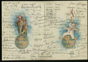 Ringling Brothers John And Charles Autographed 1923 Xmas Card 50+ Signatures