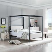 Kama Traditional Fabric Canopy Queen Bed With Iron Frame