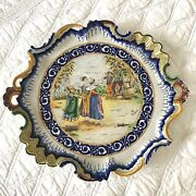 Antique French Quimper Ruffled Platter With Decor Riche Border Hb Mark