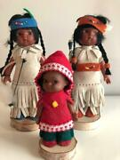 Vintage Native American Indian / Eskimo Girl Dolls Leather Outfits Wood Stands