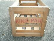 Vintage Wood Wooden Slatted Fruit Crate Box King Pak Melons Produce Of Usa