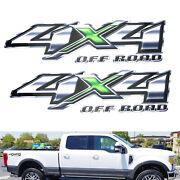 2pc 12 3d Design Silver/green 4x4 Off-road Letter Decals For Truck Suv Bedside