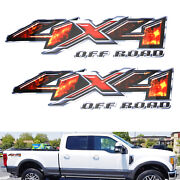2pcs 12 Fire Explosion Design 4x4 Off-road Letter Decals For Truck Suv Bedside