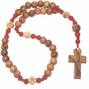 Amber, Coral And Olive Wood Threaded Anglican Rosary 9