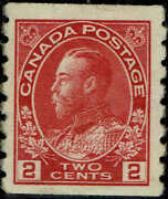 Canada 127 1912 2c Perf 8 Vertical Coil Stamp Issue Mint-og/hinged--vf