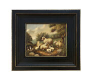 Sheep In Landscape Vintage Antique Farmhouse Style Painting Print Canvas Framed