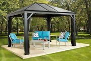 Outdoor 10' X 10' Gazebo Metal Sun Shelter With Mosquito Netting