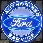 Ford Authorized Service Neon Sign 36 Wall Window Steel Grid Warranty Auto New