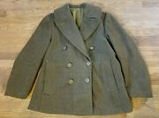 Rare Us Military Green Wool Peacoat 36r Usn Usaf Army Short Wwii Eagle Buttons