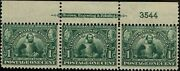328 Top Plate 3544 Strip Of 3 1907 1 Cent Jamestown Expo Issue Mint-og/nh