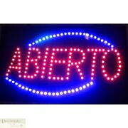 Abierto Motion Led Sign 26 Light Hang Wall Window Spanish Business Warranty New