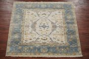 6x6 Square Oushak Area Rug Hand-knotted And Veg Dyed Wool Carpet 5.11 X 6.1