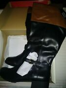 Style And Co. Venesa Riding Boots Size 11m Wide Calf Brown And Black
