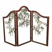 Antique Mahogany And Glass Botanical Floor Screen Room Divider W Wisteria Flowers