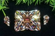 Vintage Sherman Signed Gorgeous Brooch And Earrings Set Topaz Ab Rhinestones Rare