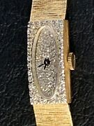 Vintage Custom Longines Solid 14k Gold And Diamond Watch 26 Grams And 1ct Diamonds