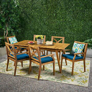 Alva Outdoor 6 Seater Acacia Wood Dining Set With Cushions