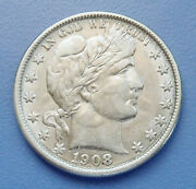 1908-o U.s. Barber Half Dollar Extra Fine Condition - Cleaned