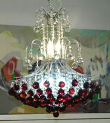 Magnificent Estate Rare Ruby And Clear Crystal Chandelier - 9 Lights