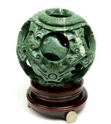 6 1/4 Hand Carved 8 Layers Green Jade / Stone Magic Puzzle Ball Sphere