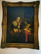 19th Century Oil On Canvas An Old Woman Dozing After Nicolaes Maes