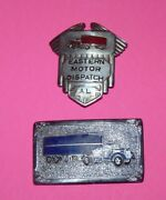 Vintage 1940s Eastern Motor Dispatch Trucking Trucker Driver Badge And Buckle Lot