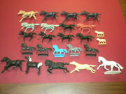 35 Horses Playset Western Medieval Marx Mpc 1950's/1960's Lot