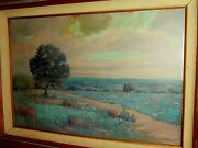 Oil Painting [24 X 36] By William Blackman - Blue Bonnets Oak Tree Country