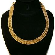 1990s Metropolitan Museum Mma Wag Egyptian Revival Gold Plated Collar Necklace