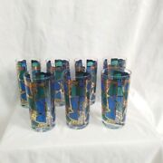 Vintage Europaset Of 7 Barware Tall Glasses By Georges Briard