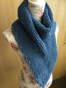 Hand Knitted Asymetric Scarf Shawl Wrap Twisted Blues By Knitted Nature