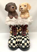 Whimsical Life Sized Puppy Dogs In Santaandrsquos Checked Boots Ooak Christmas