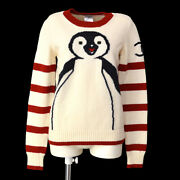 07a 36 Round Neck Long Sleeve Penguin Knit Sweater Ivory Red A43829j