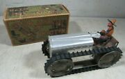 Antique 1920and039s 30and039s The Marx Tractor Aluminum Mixed Metal Wind Up Toy W/box