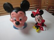 Vintage Disney Minnie And Mickey Mouse Hard Plastic Coin Piggy Banks T15