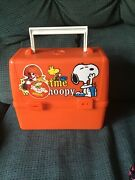 Rare A+ New School Time W/ Snoopy Plastic Lunchbox W/ Matching Thermos Vintage