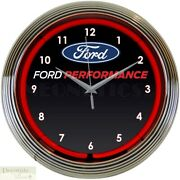 Ford Performance Logo 15 Neon Wall Clock Glass Face Chrome Plate Warranty New