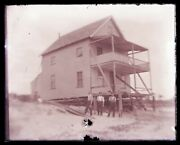 Late 1800s Early 1900s Glass Negative, Beach House Construction, Unknown Local-1