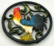 Cast Iron Painted Rooster Trivet Colorful For Hot Pans Or Country Decor