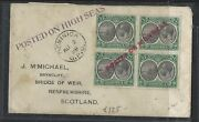 Dominica P1712b Kgv 1928 1/2d Bl Of 4 Posted On High Seas St Line Red And Vi