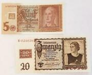 5 And20 Reichsmarks 1939 Germany Russian Occupation Banknotes W/1948 Coupon Unc
