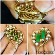 Gorgeous Large Vintage Signed Mikimoto 14k Pearl And Jade Heart Pin / Brooch