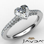Micro Pave Set Heart Diamond Engagement Ring Gia E Color And Si1 Clarity 1.1ctw