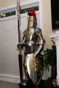 Suit Of Templar W/lance Rare Medieval Knight Armor Combat Full Body Armor Stand