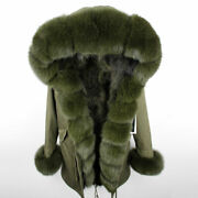 Women's Real Fur Trim Parka Fox Real Fur Collar And Fur Lined Coat Jackets Outwear
